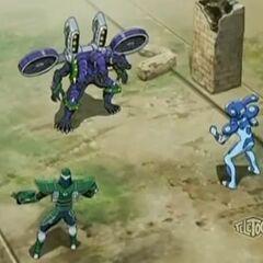 Tristar and Taylean battling against Horridian