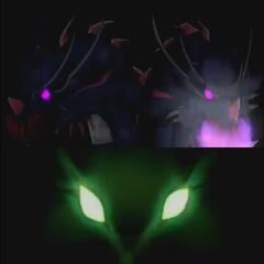 Dual Hydranoid and Storm Skyress' glowing eyes before they attack