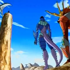 Drago being protected from Iron Dragonoid by Preyas