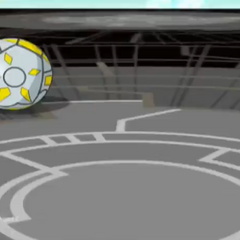 Mystic Elico in ball form being rolled onto a Gate Card