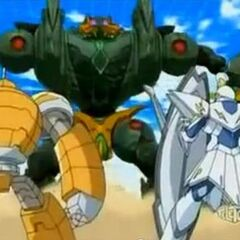 Wolfurio and Boulderon fighting against Braxion