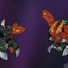Mutant Helios and Mercury Dragonoid in their Ball form (open)