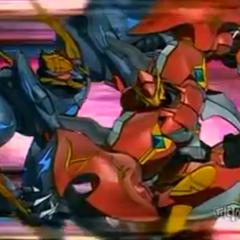Venexus being tackled by Zenthon.
