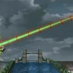 Mercury Dragonoid using <b>Revolutional + Slash Rise Thunder</b> against Razen Titan