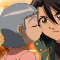Maron kissing Shun on the check