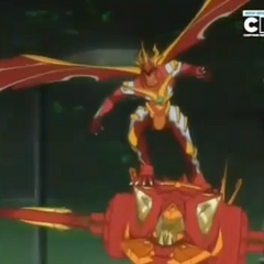 Blitz Dragonoid equipped with Jakalier in Bakugan Form