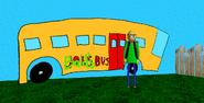 Baldi next to bus