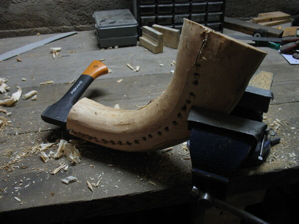 Making the crescent-shaped piece from a curved piece of wood - 12