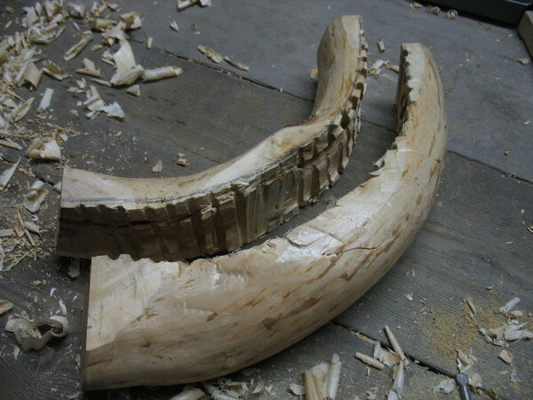 Making the crescent-shaped piece from a curved piece of wood - 13