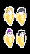 Ash, Eiji, Shorter and Yut-Lung in bananas