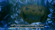 Ash tells Eiji I got scared and turned around to go home when a huge pumpkin came staggering my way