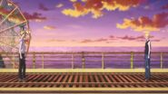 Arthur and Ash stare at each other on the subway tracks