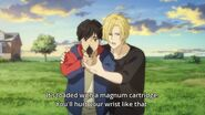 Ash tells Eiji you'll hurt your wrist like that