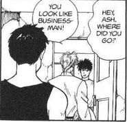 Sing watches Eiji ask Ash where he has been and that he looks like a buisness-man