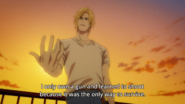 Ash tells Eiji I only own a gun and learned to shoot because it was the only way to survive