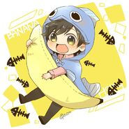 Eiji with banana and fish food by @10pxo