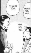 Eiji notices that Blanca is tall and is amazed