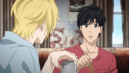 Eiji becomes speechless on hearing Ash's story
