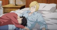 Ash notices Eiji laying on top of him
