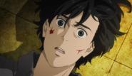 Shorter's blood lands on Eiji's face