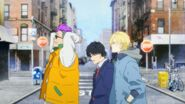 Ash, Eiji, and Shorter walking together in the intro