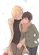 Ash and Eiji walking in the cold by nntnmoyoi