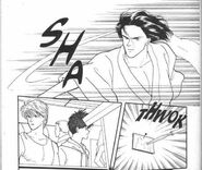 Blanca throws a knife at Eiji