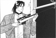 Blanca carries a rifle that he aimed at a window