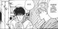 Ash tells Eiji that he saved his life again