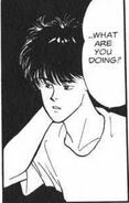 Eiji asks Ash what he's doing