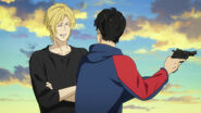 Ash smiles at Eiji with his eyes closed