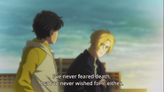Ash tells Eiji I've never feared death, but I've never wished for it either