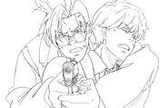 Official artwork of Shorter helping Eiji shoot in Episode 5