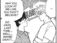 Ash glares at Eiji like he doesn't believe him