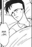 Eiji moans in his sleep from being grazed by a bullet