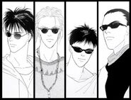 Ash, Eiji, Sing, and Blanca wearing shades