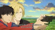 Ash tells Eiji don't worry about wind resistance at this distance