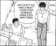 Eiji tells Sing about getting rest and that computer screens make eyes very tired