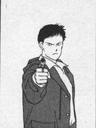 Sing aims his gun at Yut-Lung in Manga