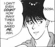 Eiji tells Ash that he can't count how many times Ash saved him