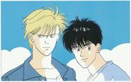 Ash and Eiji with clouds behind them