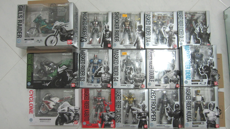 A collection of both Showa and Heisei era Kamen Riders. S.H. Figuarts ...