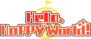 Hello happy world English logo