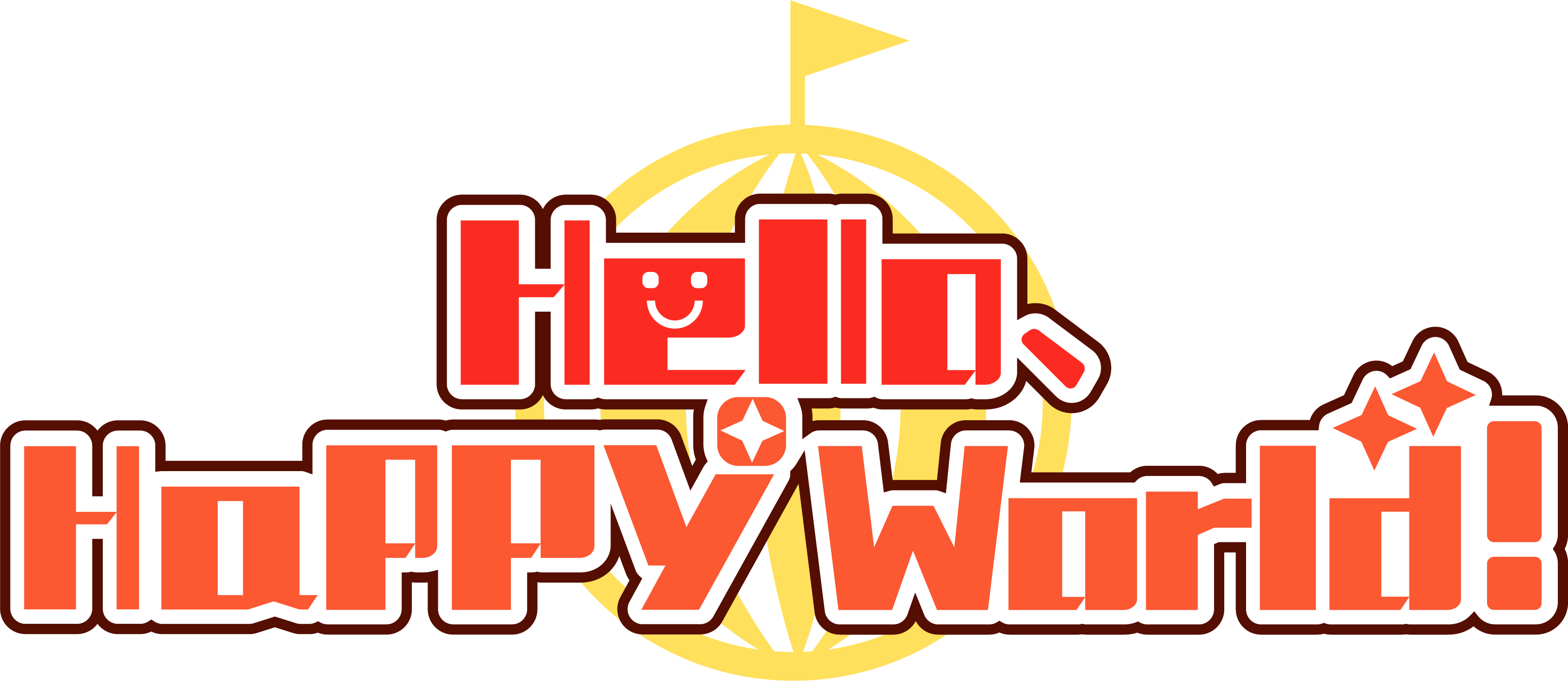Hello happy world English logo