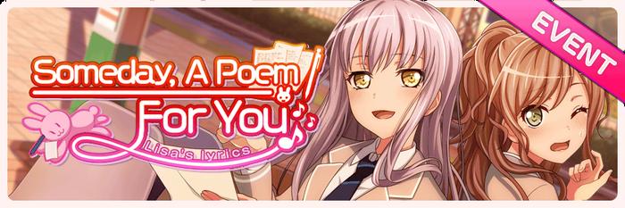 Someday, A Poem For You- Lisa's Lyrics Worldwide Event Banner