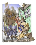 Policia de ciudad duelo persiguiendo a banjo y a kazooie