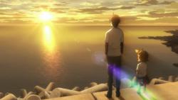 Seishuu y Naru ven la puesta del sol