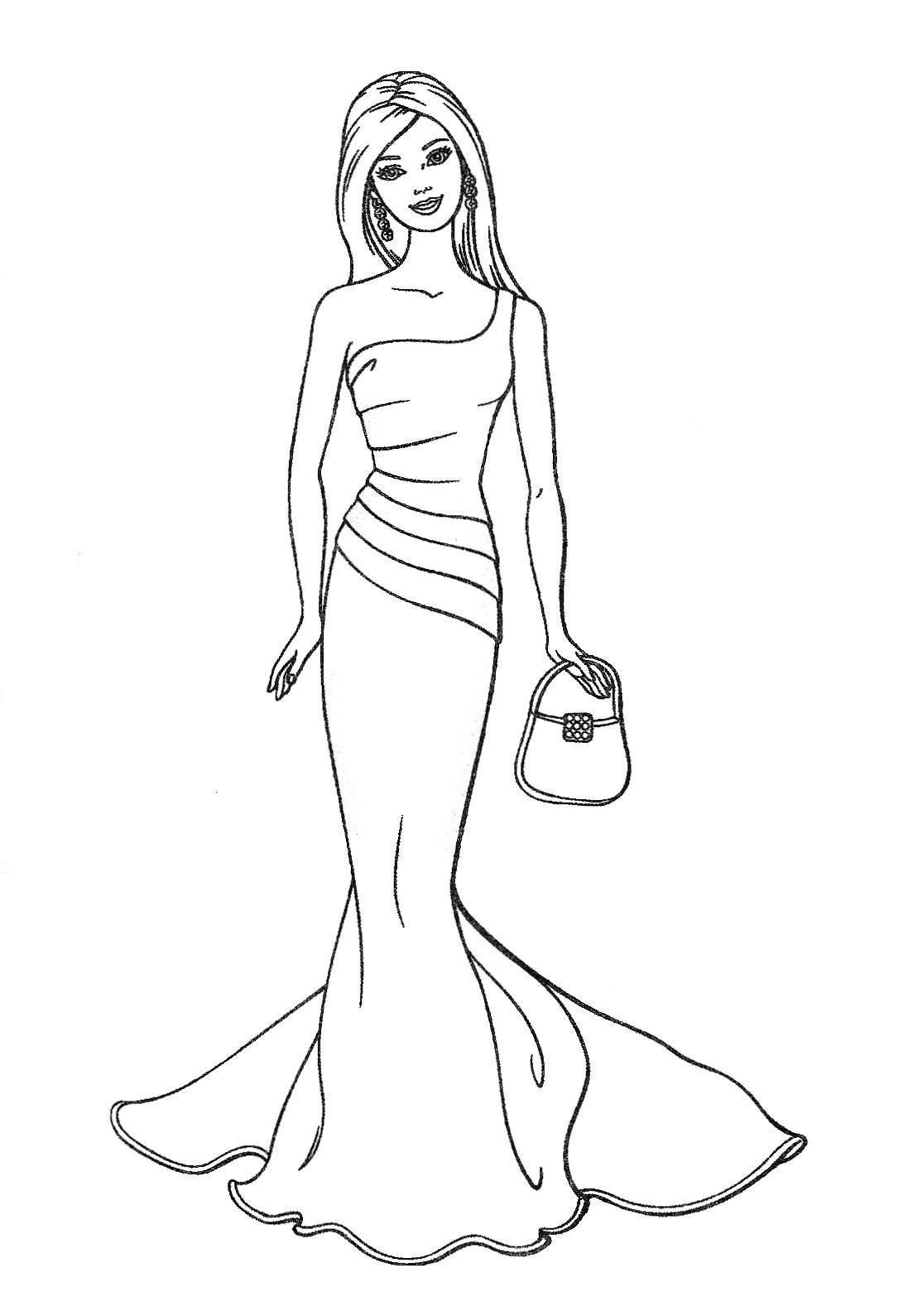 Barbie colouring in online free - Coloring For Kids Free Printable Barbie Coloring Pages In Minimalist Online Jpg