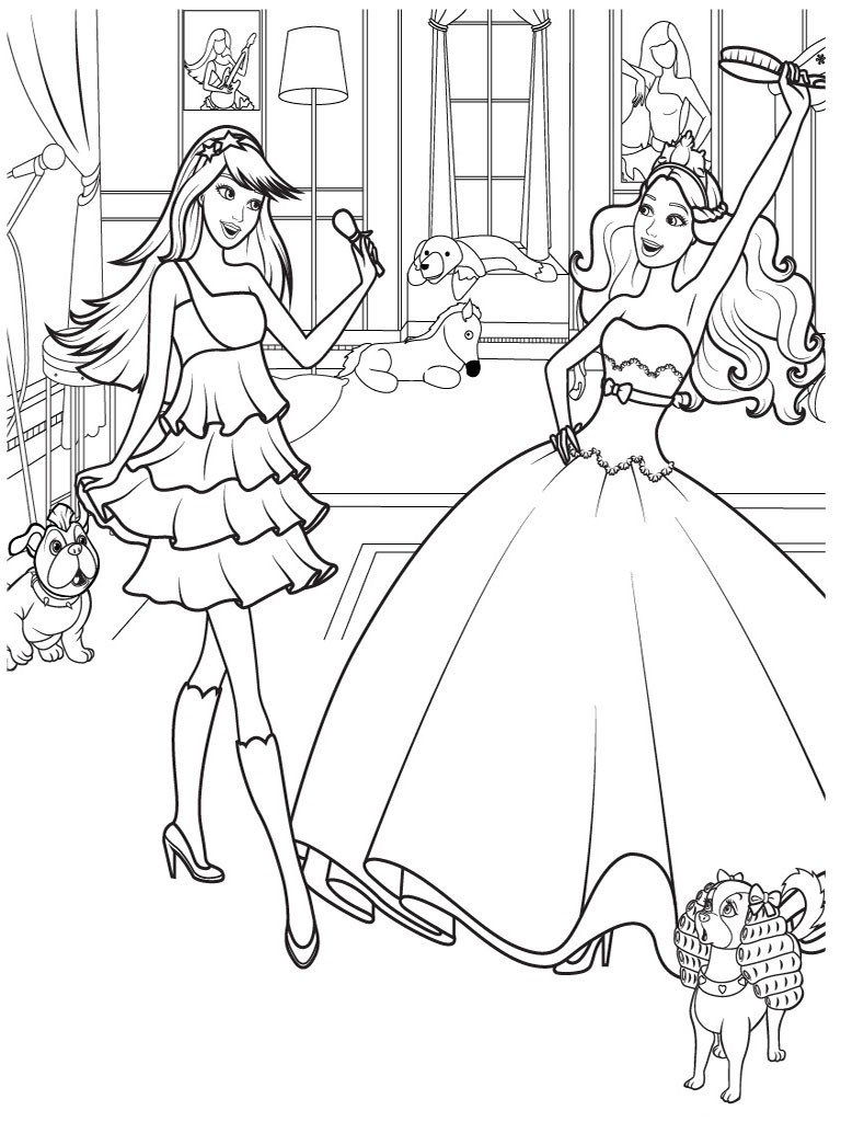 Free Colouring Pages Printable Barbie Coloring At Minimalist Kids