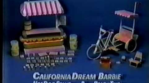 VINTAGE 80'S CALIFORNIA DREAM BARBIE HOTDOG HOT DOG STAND COMMERCIAL